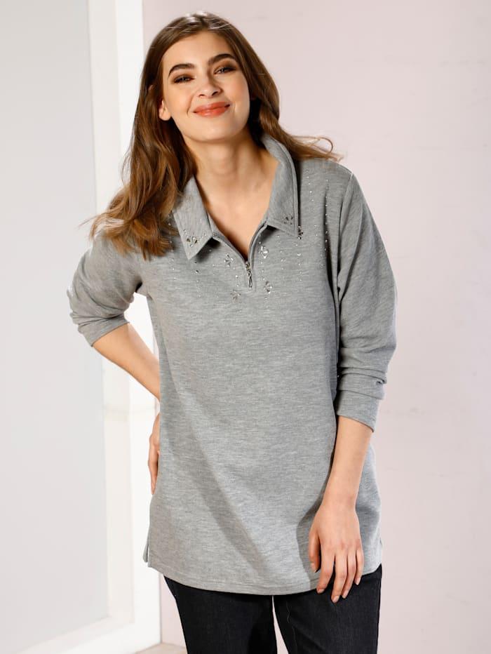 m. collection Sweatshirt mit Plättchendekoration im Vorderteil, Silbergrau