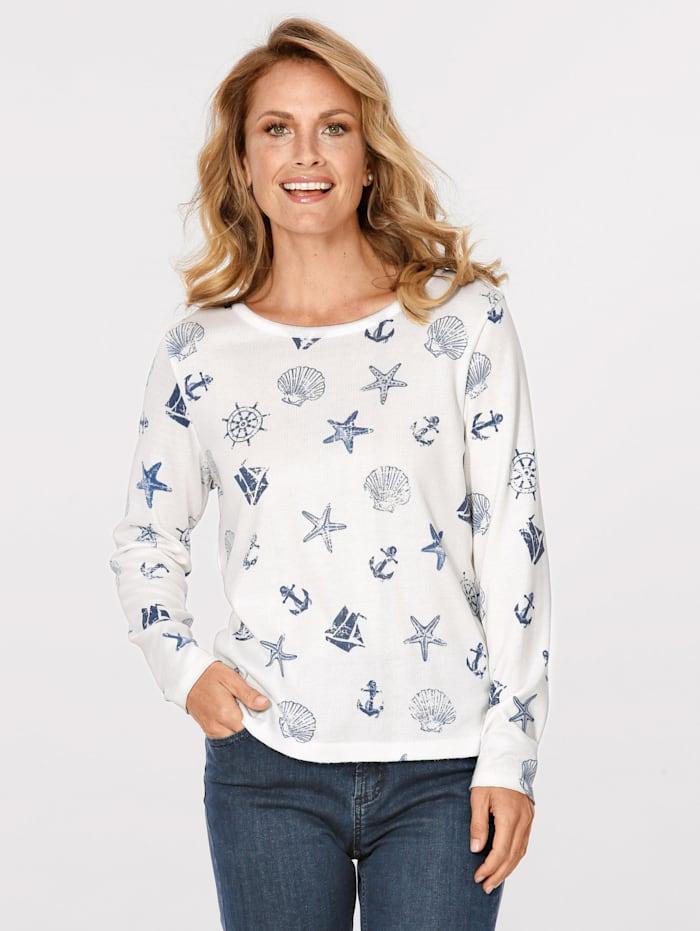 MONA Pullover mit maritimen Druck-Motiven, Ecru/Marineblau