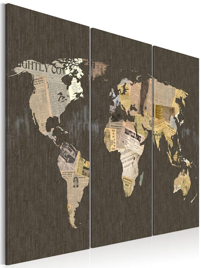 artgeist Wandbild Nachrichten aus der Welt - Triptychon, Beige,Creme,Grau