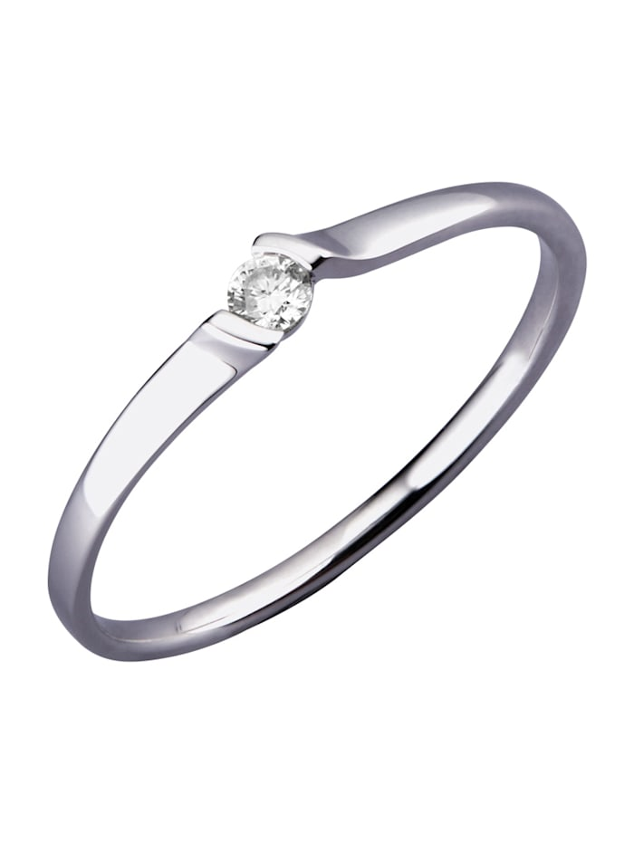 Damesring met diamant, Witgoudkleur