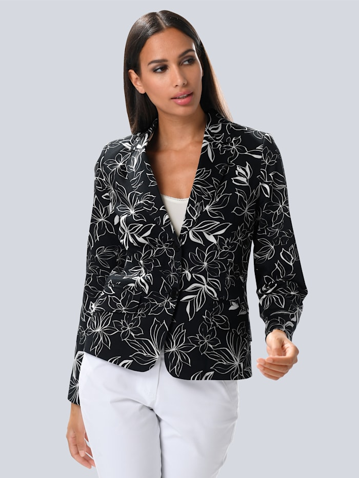Alba Moda Blazer met contrastkleurige print, Zwart/Offwhite