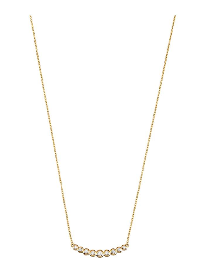 Diemer Diamant Collier met 9 briljanten, Geelgoudkleur