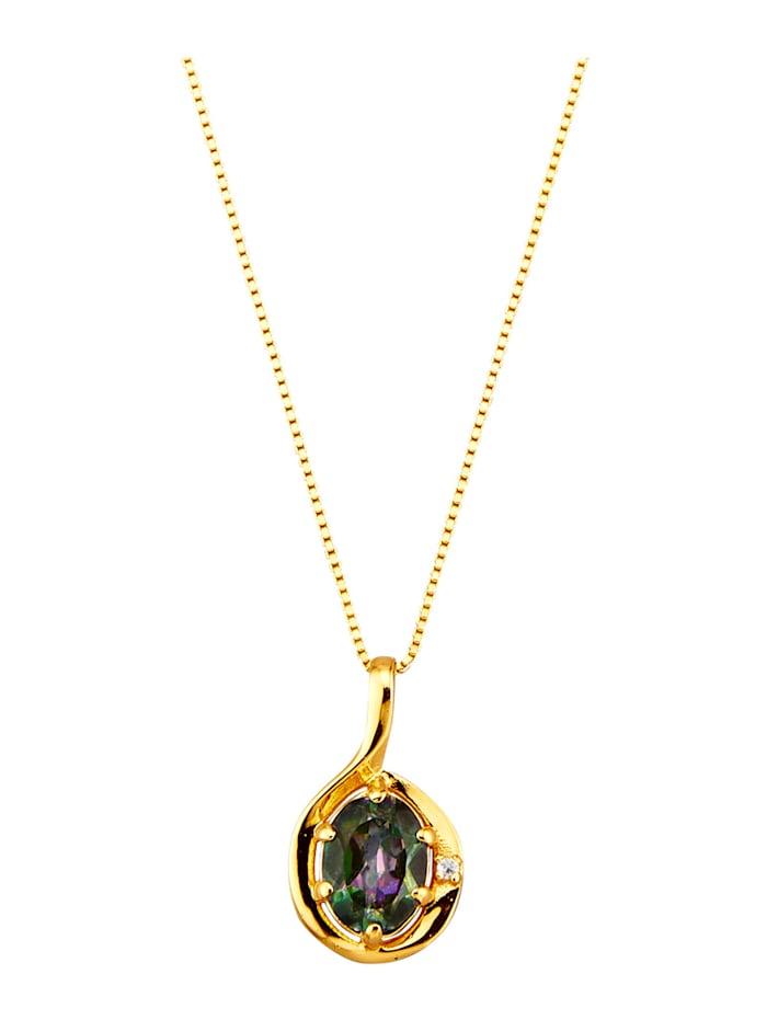 Mystic-topaasiriipus ja ketju hopeaa, Keltakullanvärinen