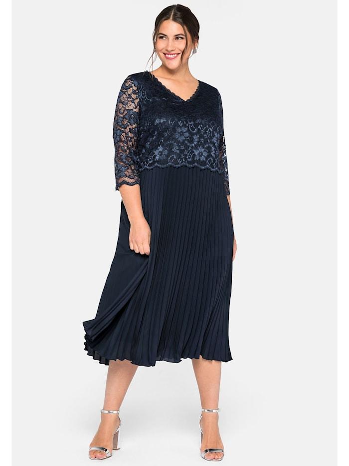 Sheego Cocktailkleid mit elegantem Spitzenoberteil, nachtblau