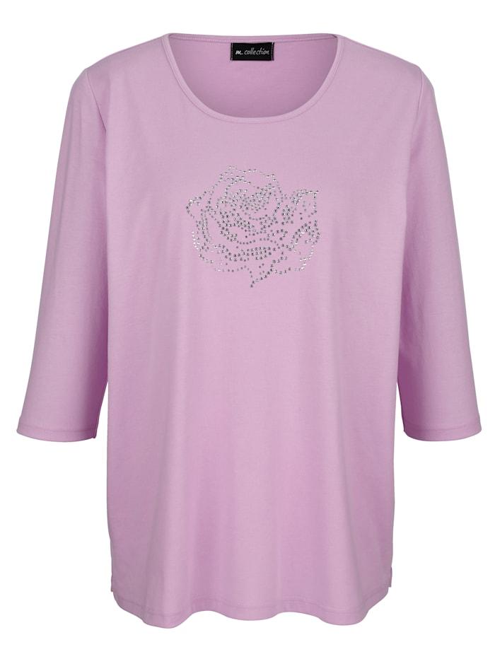 m. collection Shirt mit Rosenmotiv, Rosé