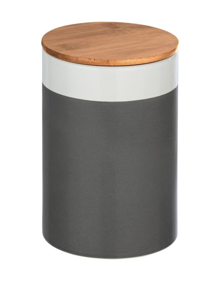 Wenko Aufbewahrungsdose Malta 1,45 l hochwertige Keramik, Keramikdose im trendigen Farbblockdesign in, Dose: Mehrfarbig, Deckel: Braun, Silikonring: Transparent
