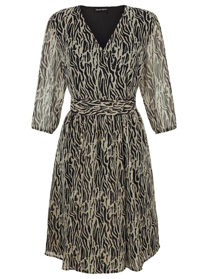 Klänning med tryckt vilddjursmönster