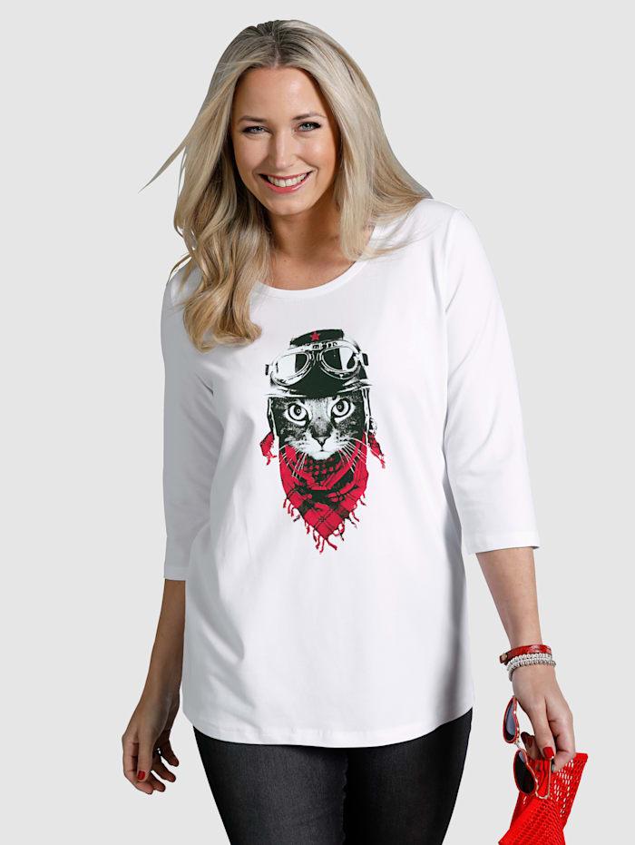 MIAMODA Shirt mit ausgefallenem Katzenmotiv, Weiß