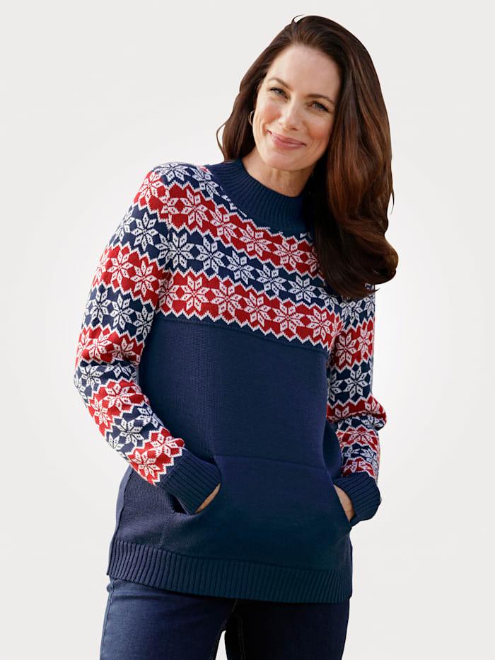 MONA Pull-over à motif norvégien tendance, Bleu/Blanc/Rouge