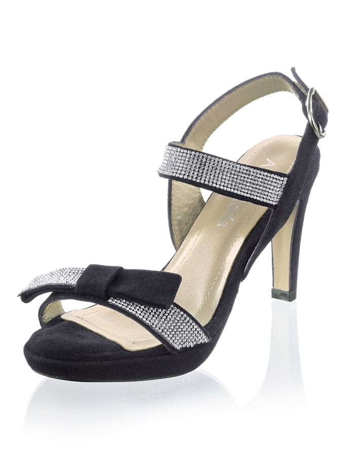 Alba Moda Sandalette aus Ziegenveloursleder, Schwarz