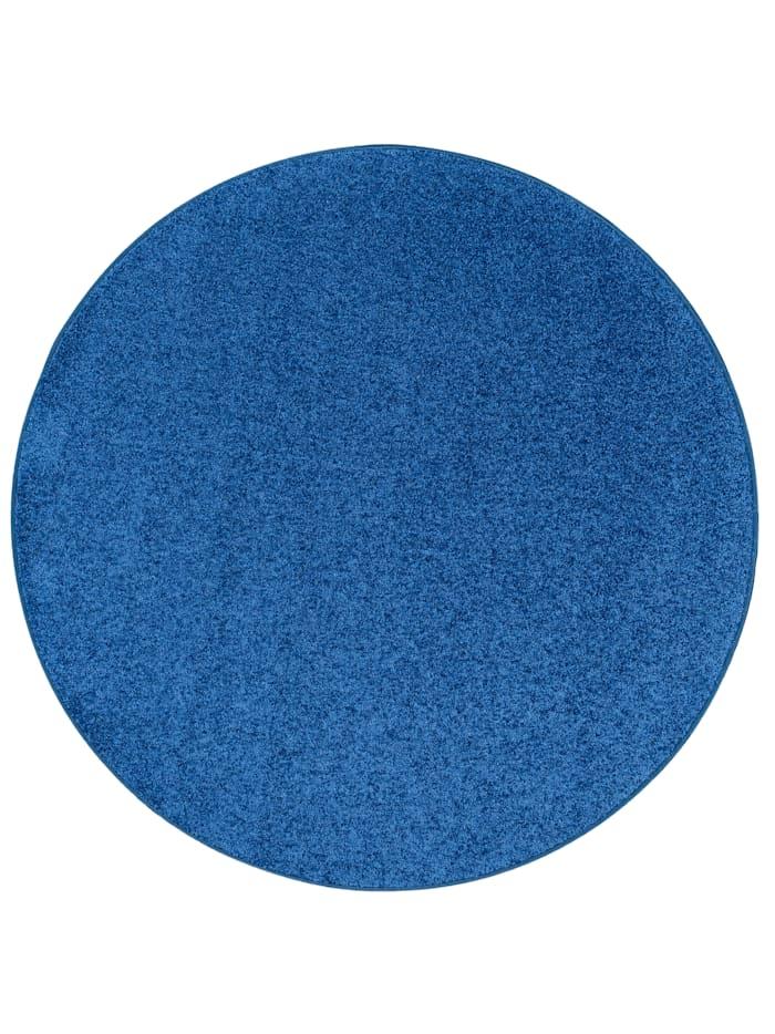 Snapstyle Teppich Hochflor Shaggy Cottage Rund, Blau