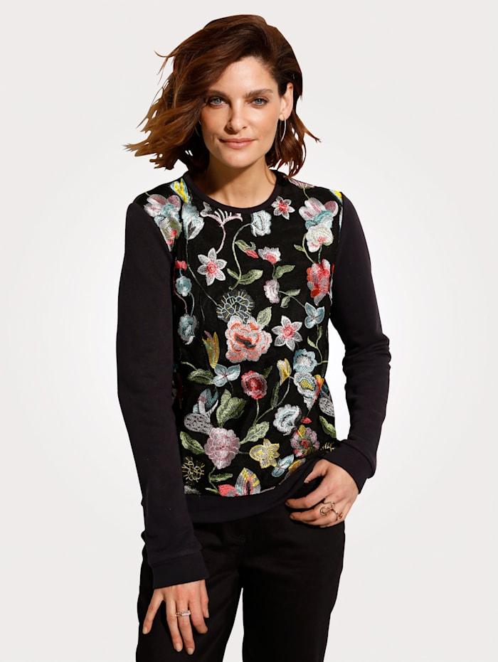 Sweatshirt met gebloemd netmateriaal