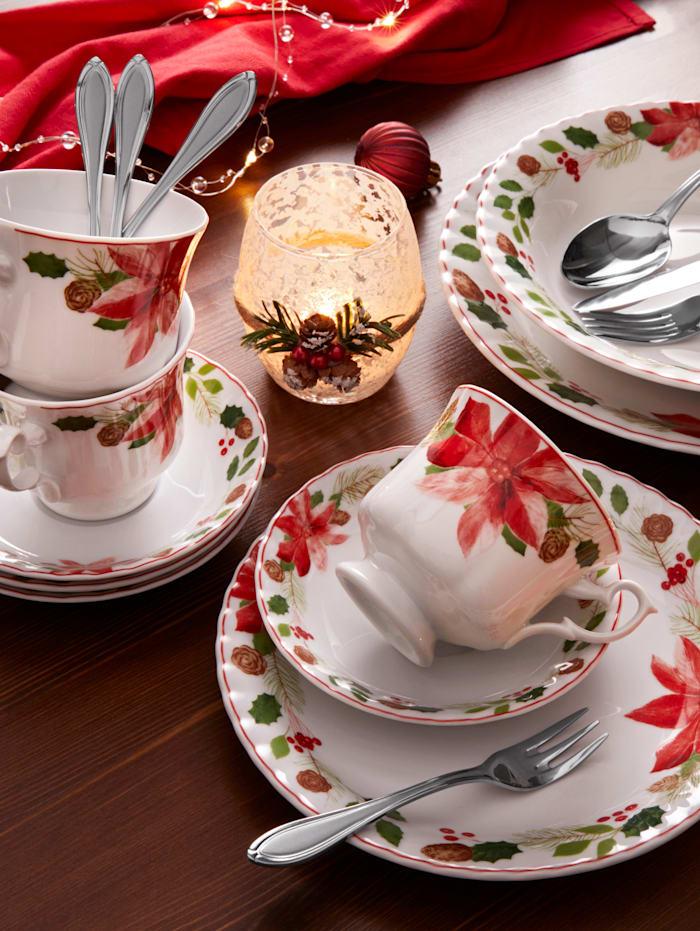 Creatable 12-delig eetservies Kerstster, multicolor