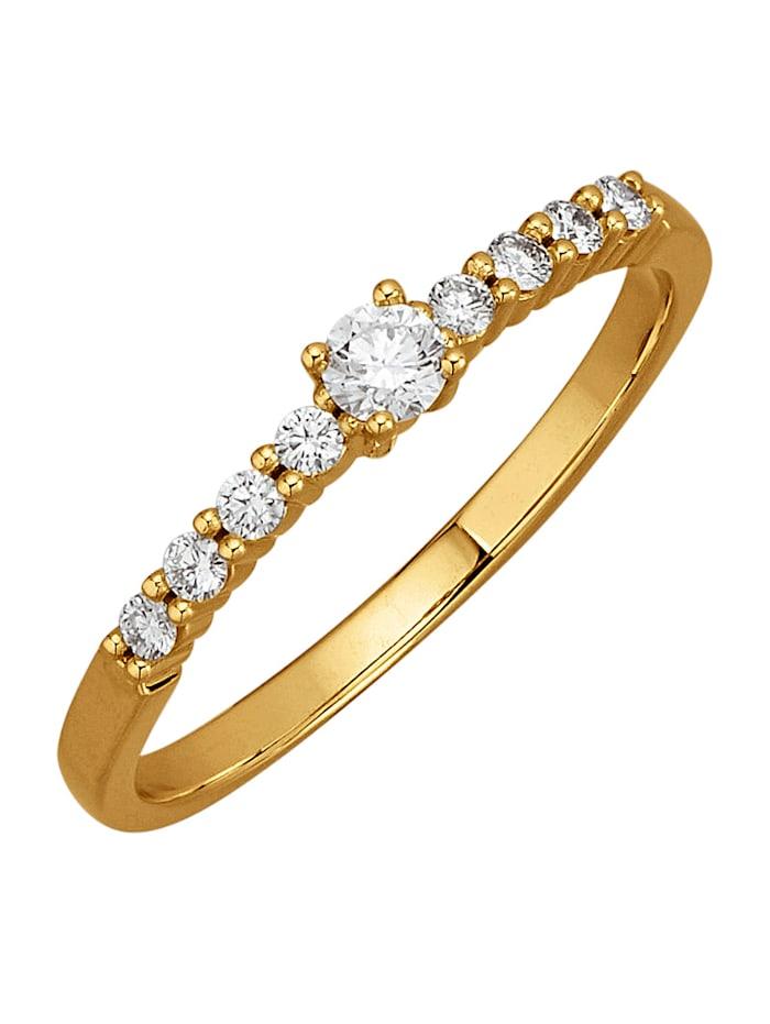 Diemer Diamant Damesring met loepzuivere briljanten, Geelgoudkleur