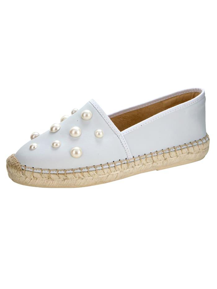 Espadrilles mit imposanter Perlenverzierung, Weiß