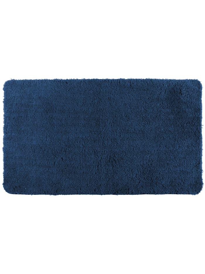 Wenko Badteppich Belize Marine Blue, 55 x 65 cm, 55 x 65 cm, Mikrofaser, Polyester/Mikrofaser: Blau