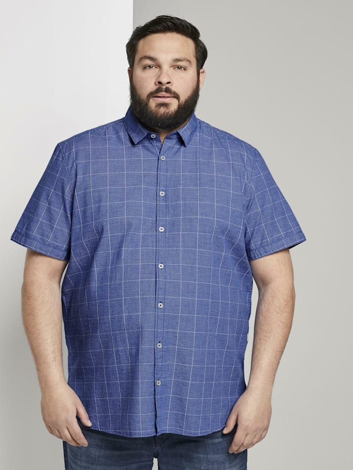 Tom Tailor Men Plus Kariertes Kurzarmhemd, blue structure with check
