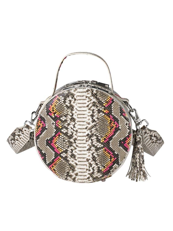 Handväska med ormskinnsmönster
