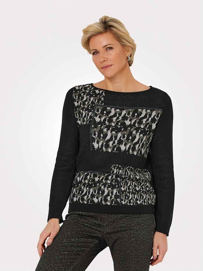 MONA Pullover mit platziertem Camouflage-Muster, Oliv/Beige/Schwarz