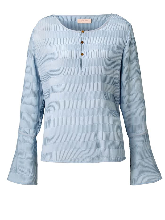 SIENNA Bluse mit Plissee, Hellblau