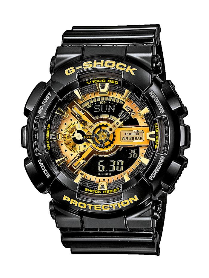 Casio Herren-Uhr Chronograph, Schwarz/Gelbgoldfarben