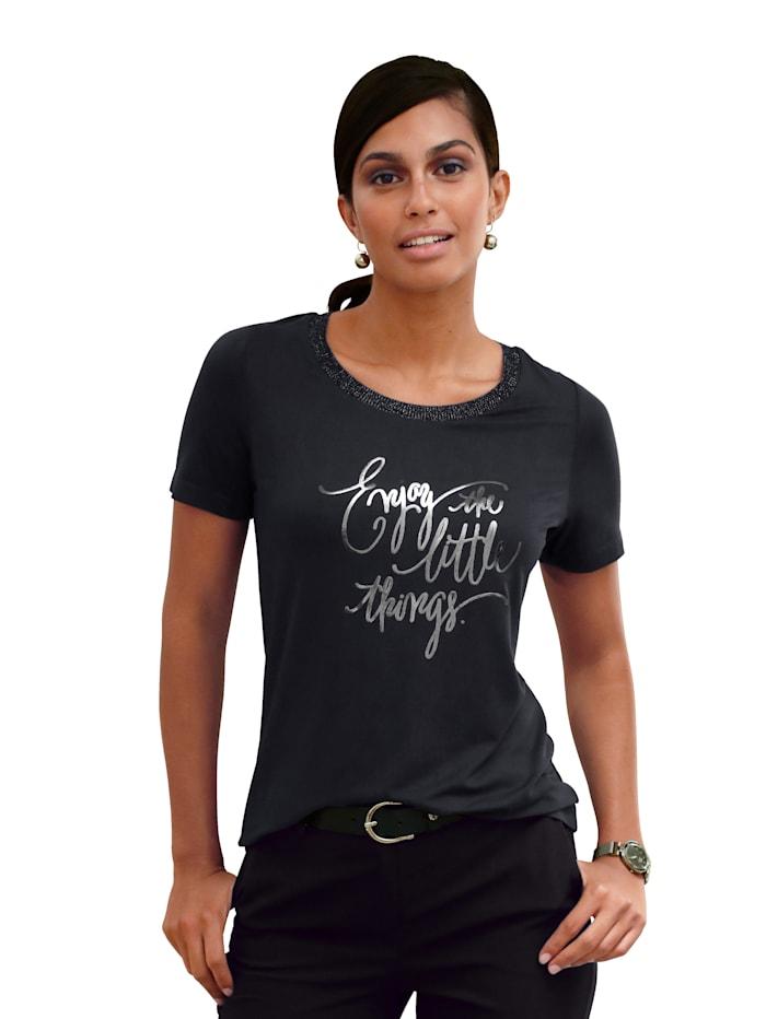 AMY VERMONT Shirt met folieprint met opschrift, Donkerblauw