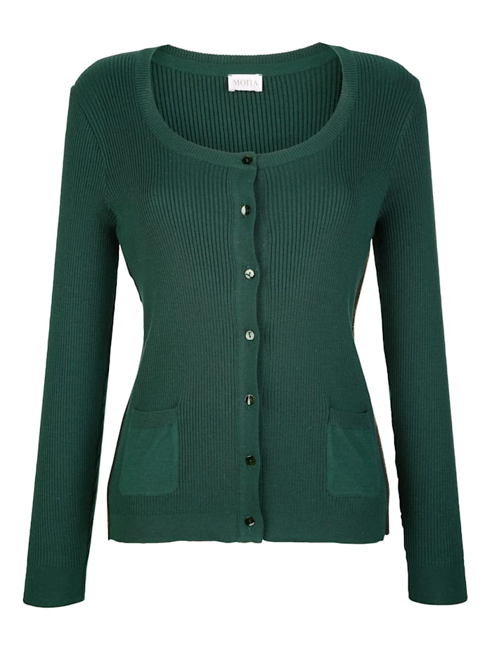 Cardigan with shimmering ribbed detailing