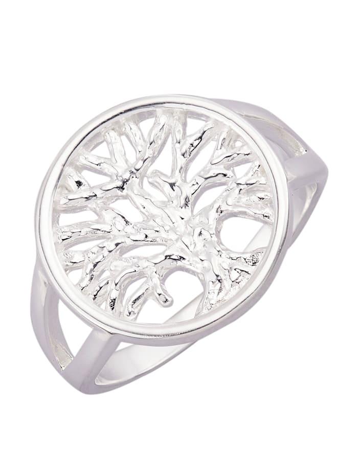 Lebensbaum-Ring in Silber 925, Silberfarben
