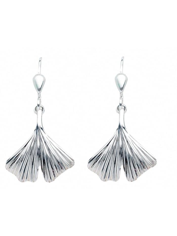 1001 Diamonds Damen Silberschmuck 925 Silber Ohrringe / Ohrhänger Ginkoblatt, silber
