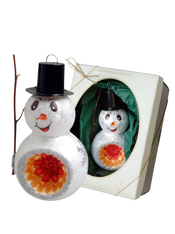 Krebs Glas Lauscha Weihnachtshänger 'Schneemann', Weiß