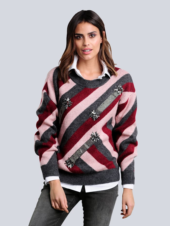 Alba Moda Pullover mit modischem Colourblocking-Dessin, Grau/Bordeaux