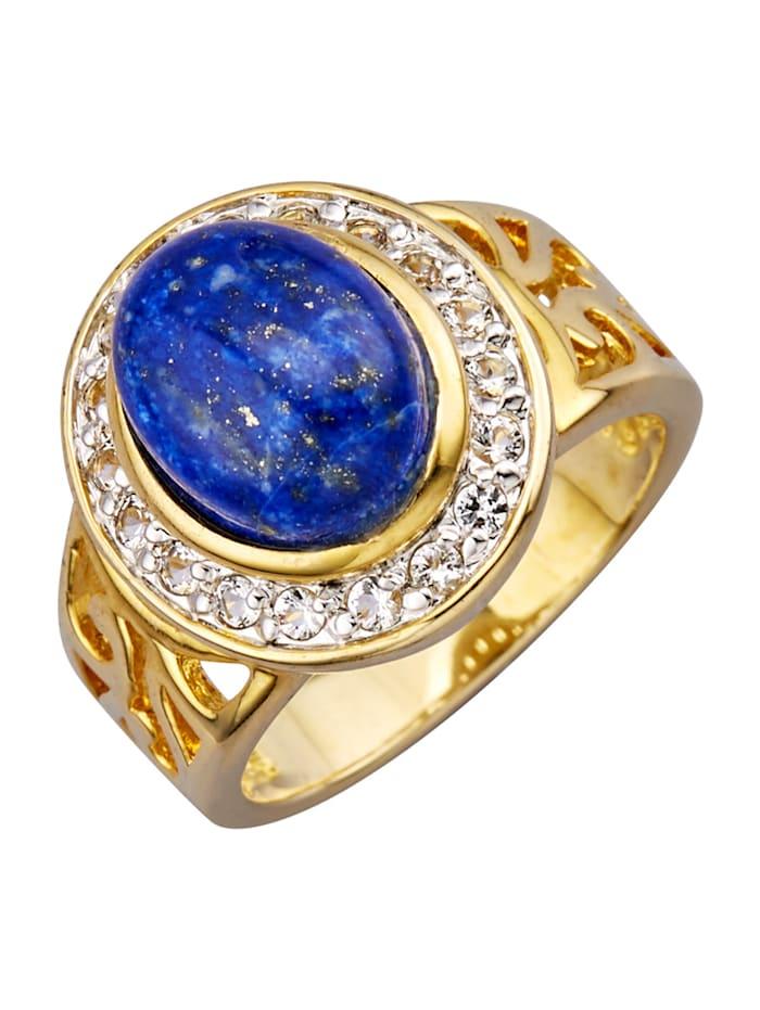 Damesring met lapis lazuli, Blauw