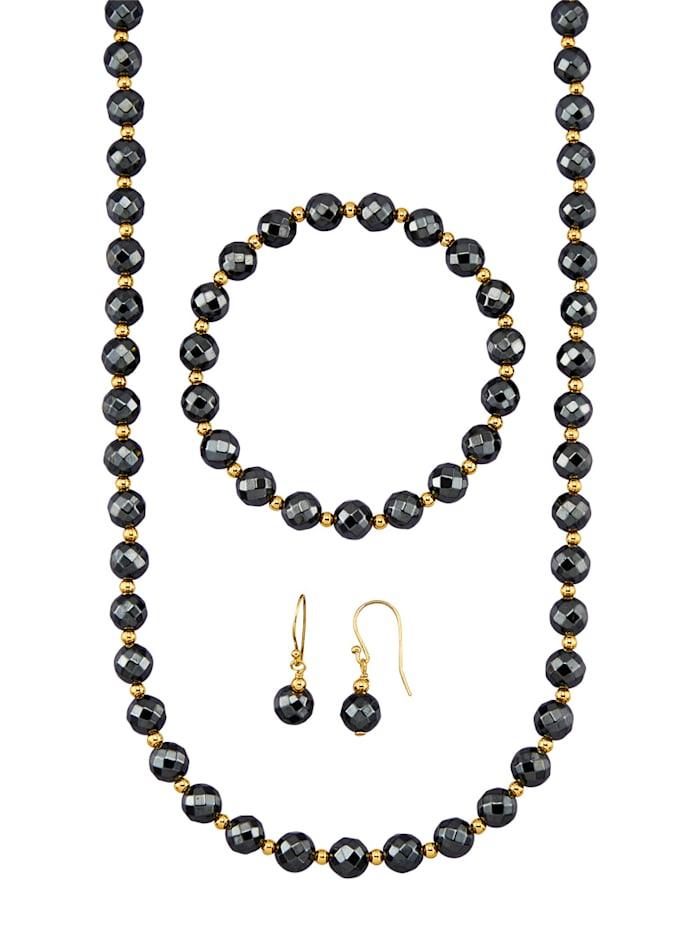 Amara Pierres colorées Parure de bijoux 3 pièces avec hématites, Gris