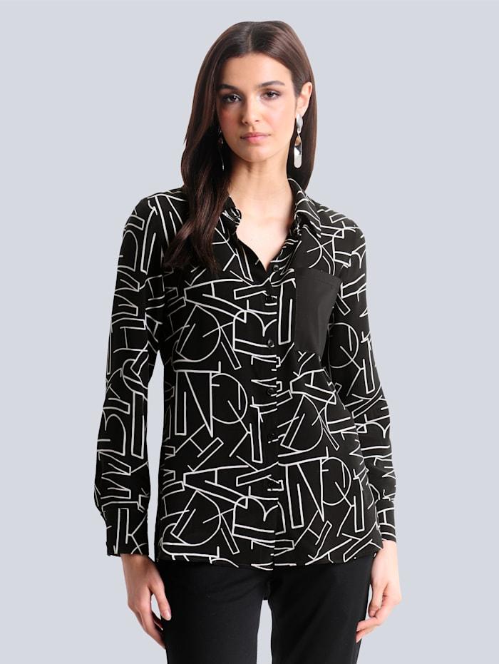 Alba Moda Blouse met fraaie letterprint, Zwart/Wit