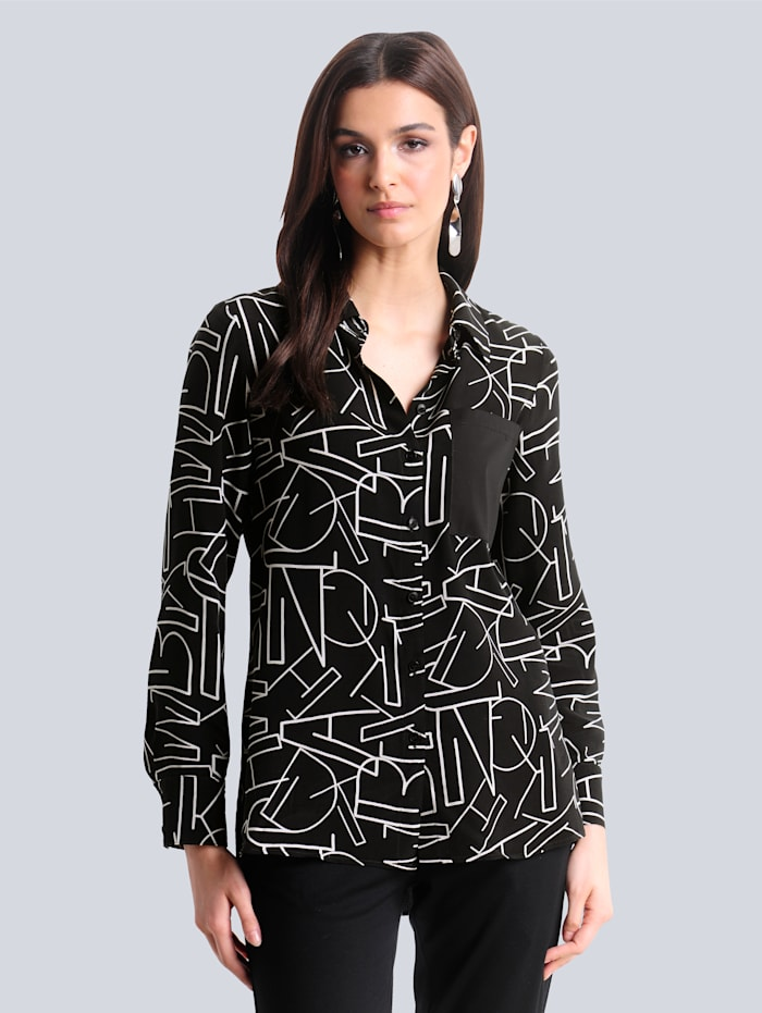 Alba Moda Bluse mit schönem Buchstaben-Print, Schwarz/Weiß
