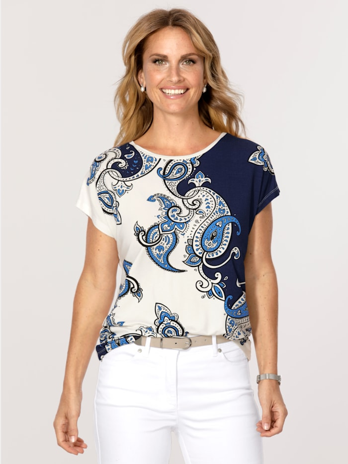 MONA Shirt mit Paisleydruck, Ecru/Blau