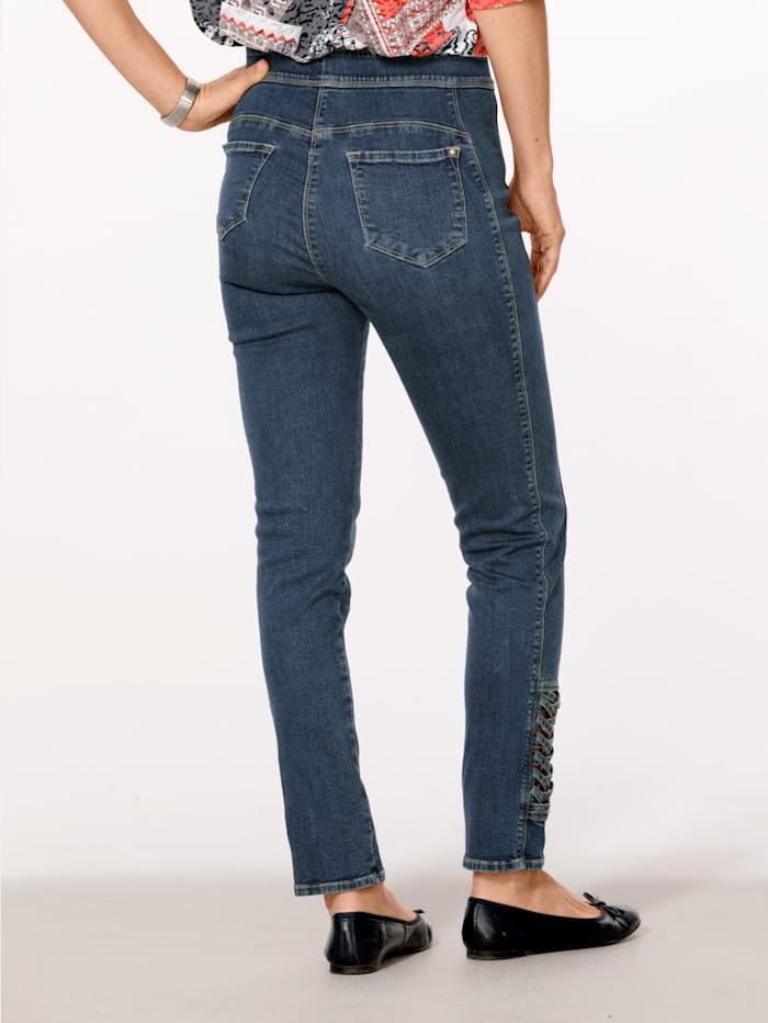 Jeans med flettede innfellinger