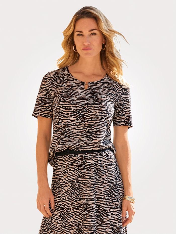 MONA T-shirt à motif animalier, Noir/Marron clair