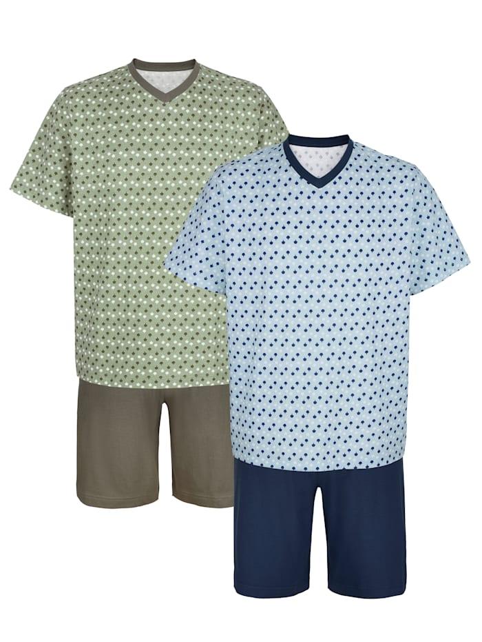 Roger Kent Somrig pyjamas, Ljusblå/Khaki