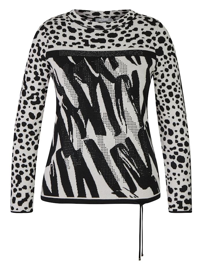Rabe Pullover mit grafischem Muster und Glitzersteinen, SCHWARZ
