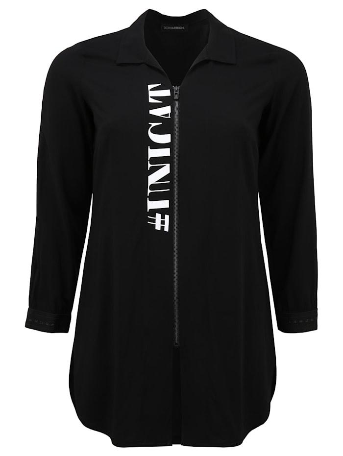 Doris Streich Bluse mit Reißverschluss, schwarz/weiß