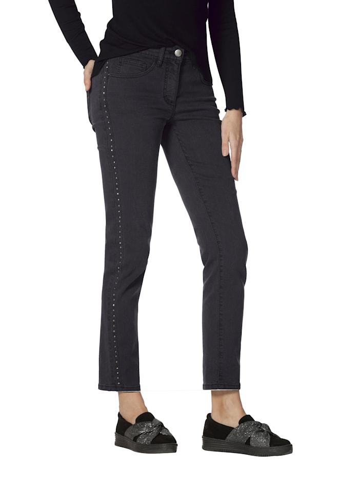 AMY VERMONT Jeans mit Strasssteindekoration, Anthrazit