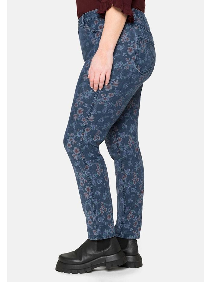 Wende-Jeans «Die Skinny»,uni und mit Blumendruck