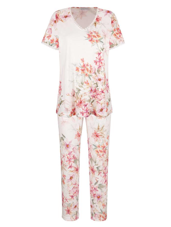 MONA Schlafanzug mit zarter Spitze, Weiß/Fuchsia/Grün