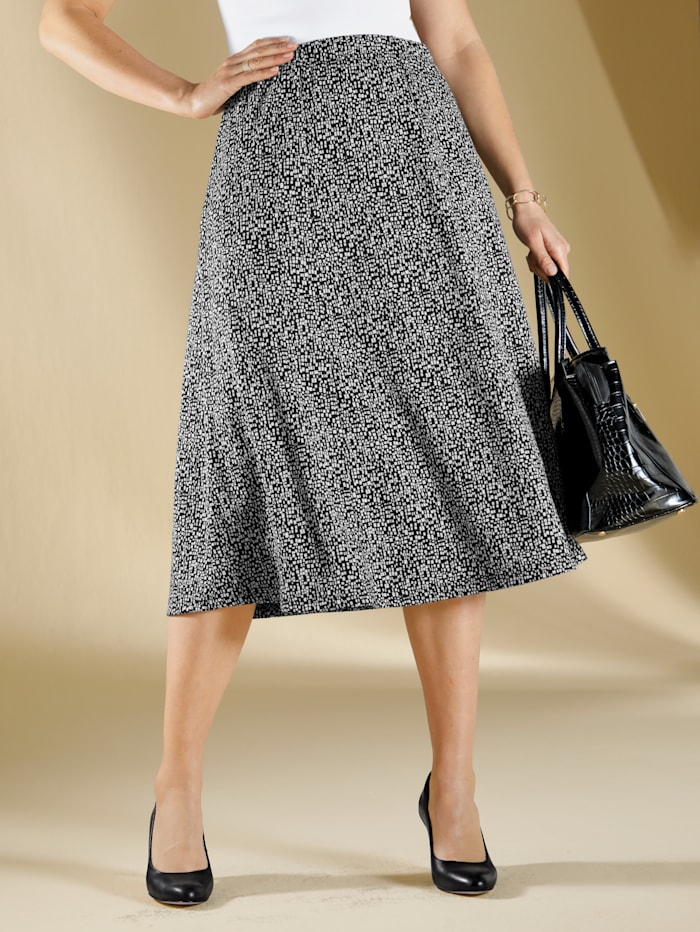 m. collection Jersey rok met minimalprint, Zwart/Wit