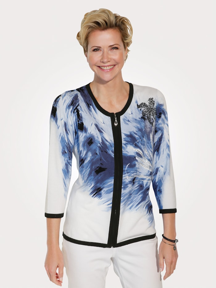 MONA Cardigan with a graphic pattern, Blue/White/Black