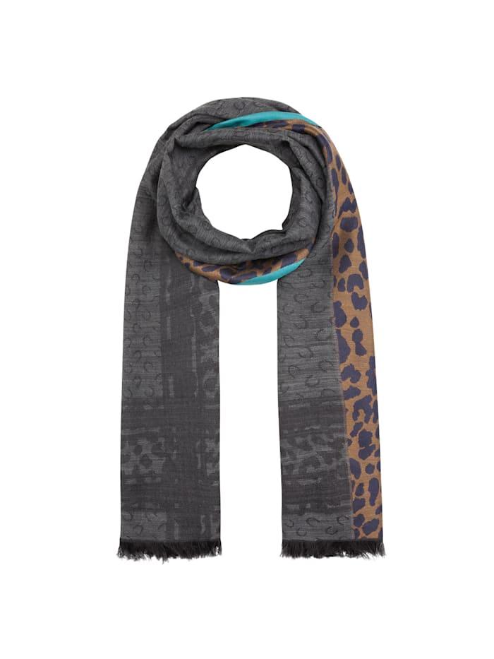 Codello Jacquard-Schal aus Wolle, Baumwolle und Modal, grey