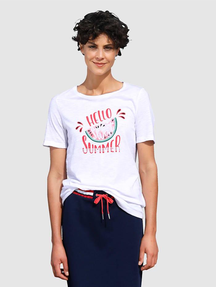Dress In Puuvillapaita tekstiprintillä, Valkoinen