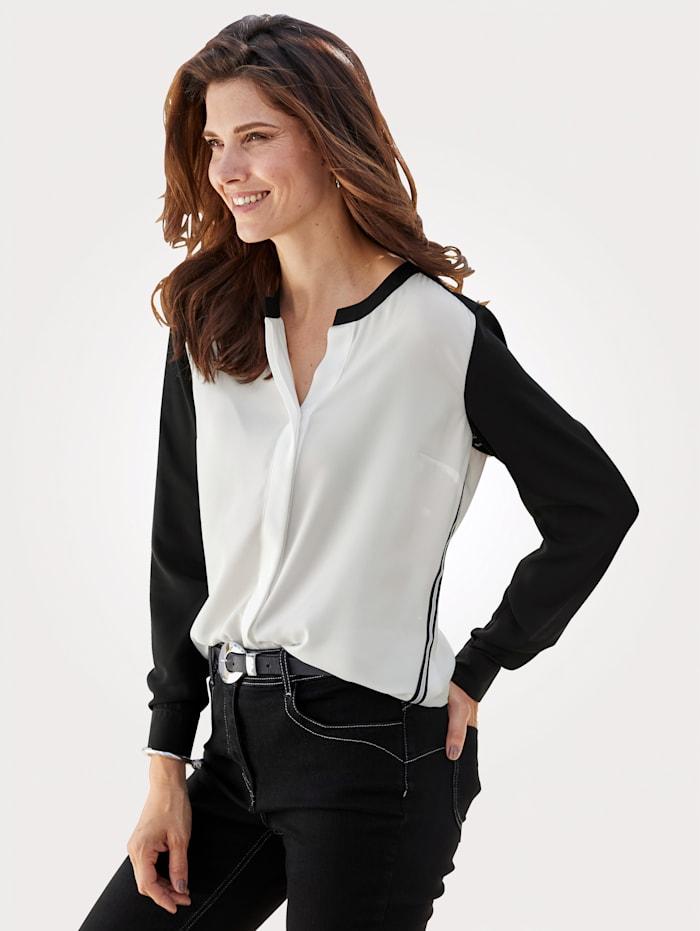 MONA Bluse in modischer Kontrast-Verarbeitung, Schwarz/Weiß