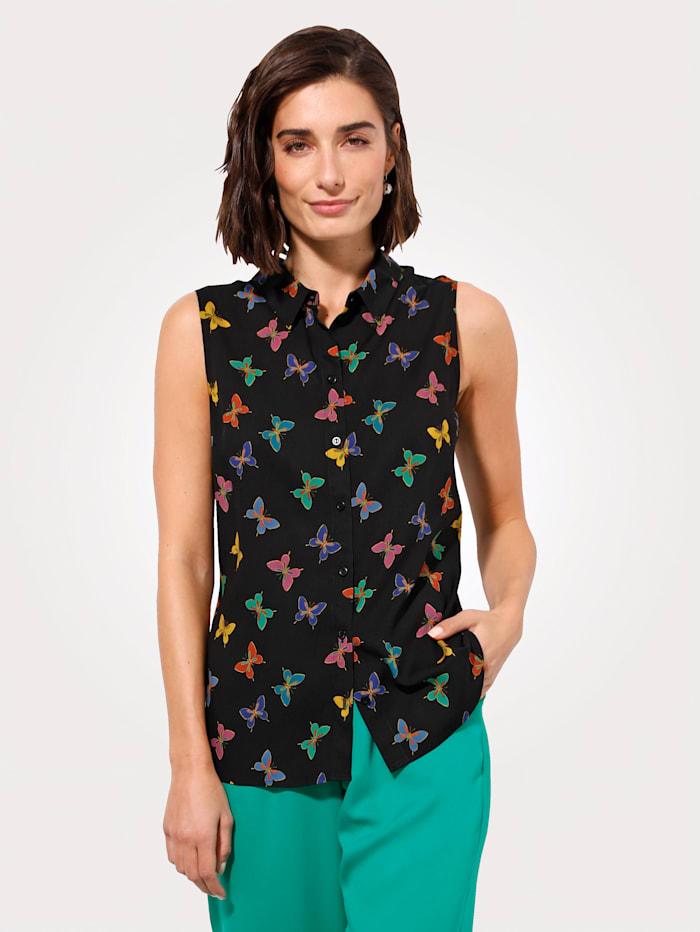 MONA Bluse mit Schmetterlingdruck, Schwarz/Lila/Grün
